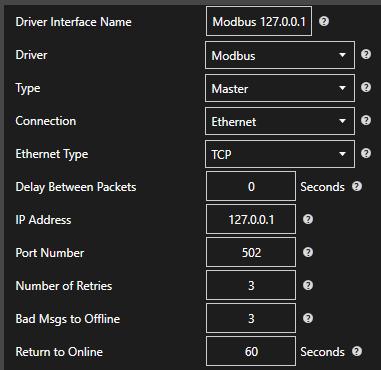 Modbus Driver Configuration