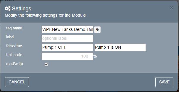 IoT Web HMI Dashboard Settings