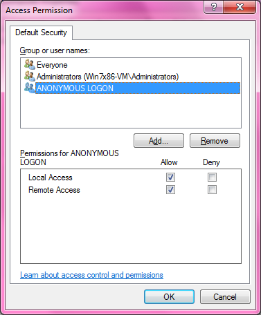 DCOM Security Configuration 516