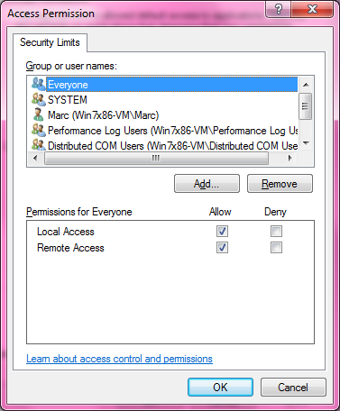 DCOM Security Configuration 518