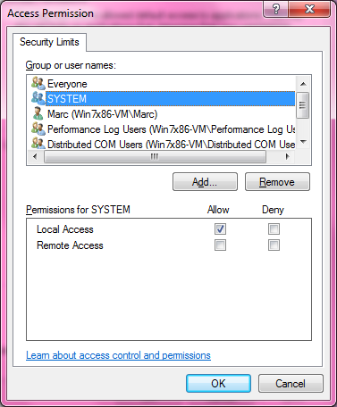 DCOM Security Configuration 519