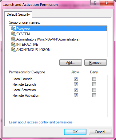 DCOM Security Configuration 523