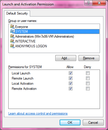 DCOM Security Configuration 524