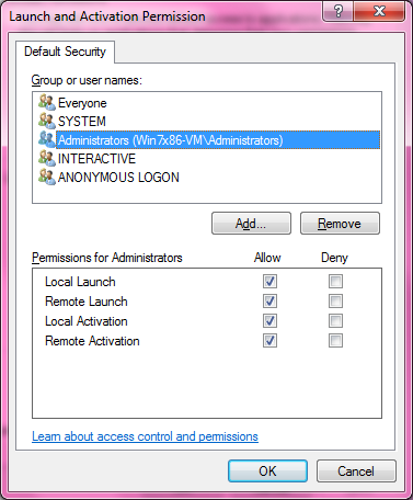DCOM Security Configuration 525