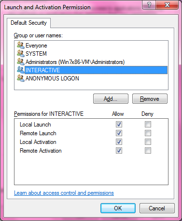 DCOM Security Configuration 526