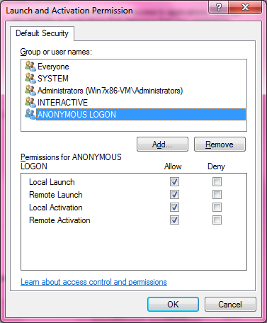 DCOM Security Configuration 527