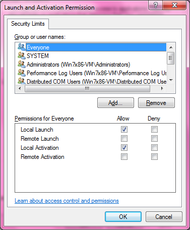 DCOM Security Configuration 529