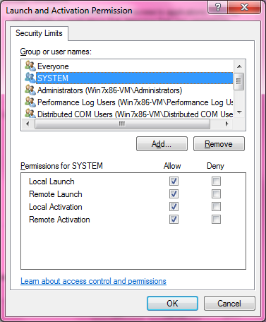 DCOM Security Configuration 530