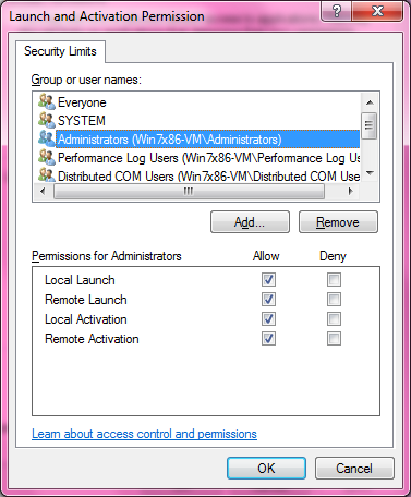 DCOM Security Configuration 531