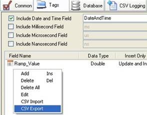 Export CSV Data Logging